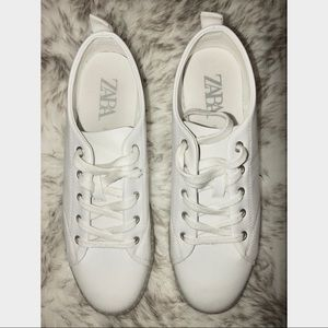 ZARA White Leather Sneakers US 9